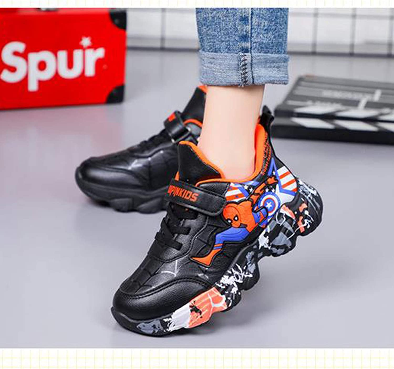 WQLESO Zapatillas de Deporte para ni/ños Zapatos Deportivos de Dibujos Animados de Spiderman para ni/ños Zapatos Casuales Impermeables y Resistentes al Desgaste,Orange-26EU