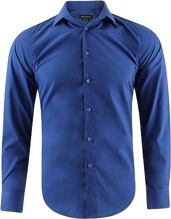 Camisa Slim fit Azul para Hombre con Manga Larga Shirt Talla ...