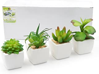 OFFIDIX Artificial Succulent Plants for Home & Office Decoration with Ceramic Pot 4pcs/Set Indoor Fake Green Potted Plant for Gift (Square)