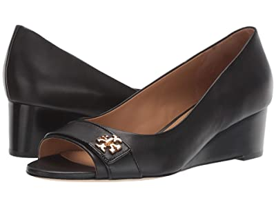 Tory Burch 45 mm Kira Open Toe Wedge (Perfect Black) Women