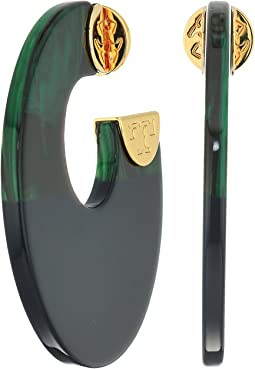 Tory Burch Resin Color Block Hoop Earrings