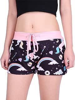 Womens Juniors Pajama Shorts Sleep Wide Waistband Design Print Yoga Bottoms