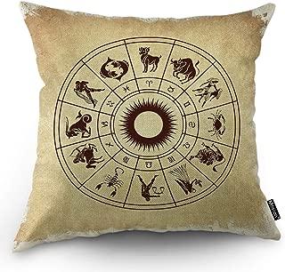 Moslion Zodiac Pillows Horoscope Wheel Animals Cow Dog Crab Fish Aquarius Scorpio Taurus Leo Gemini Throw Pillow Cover Decorative Square Cushion Accent Cotton Linen Home Pillow Case 18X18 Inch Brown