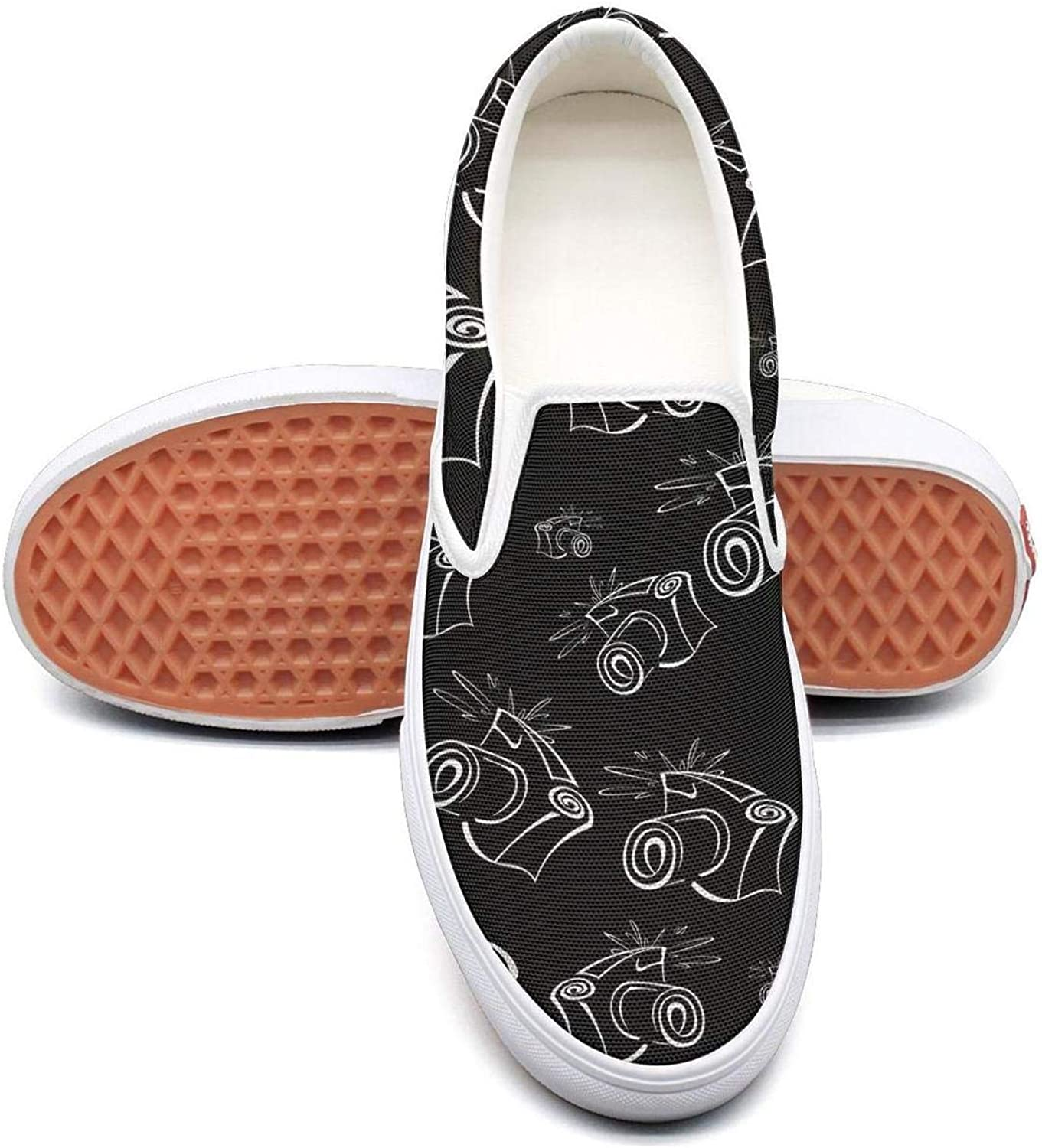 Refyds-es Black and White Contour Photo Camera Womens Fashion Slip on Low Top Lightweight Canvas Sneakers