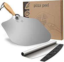 """Pizza Peel Set, SXTWBK 12"""" x 14"""" Aluminum Metal Pizza Paddle with 11.6"""" Foldable Wood Handle and 13.75"""" Pizza Cutter with ..."""