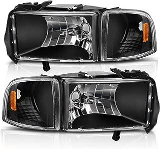 Headlight Assembly for 1994-2001 Dodge Ram 1500/1994-2002 Dodge Ram Pickup 2500 3500 Black Housing Amber Reflector with Corner lights