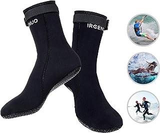 IREENUO Neoprene Diving Socks 3mm Ultra Premium Water Fin Sock Sandproof Scuba Snorkeling Water Socks Adjustment Straps for Beach Swim Boarding Kiteboarding and Water Sports