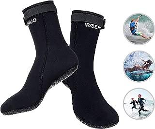 Neoprene Diving Socks 3mm Ultra Premium Water Fin Sock Sandproof Waterproof Scuba Snorkeling Water Socks Adjustment Straps for Beach Swim Boarding Kiteboarding and Water Sports