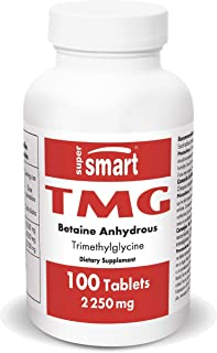 Supersmart - TMG 2250 mg Per Serving (Trimethylglycine) - Betaine Anhydrous - Support an Healthy Cardiovascular System | N...