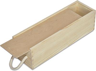 Creative Deco Caja Madera Vino | Tapa Deslizante y Cuerda | 1 ...