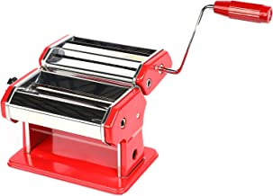 """Houseables Pasta Maker, Stainless Steel, 8""""x6"""", Red, w/Adjustable Dough Roller, Hand Crank, Table Clamp, Noodle Cutter & P..."""