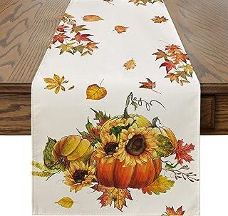 Artoid Mode Fall Pumpkins Sunflowers Maple Leaves Table Runner, Seasonal Autumn Harvest Vintage Kitchen Dining Table Decor...