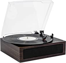 LP&No.1 Vintage Vinyl Record Players with Bluetooth Receiver,3 Speed Belt-Drive Stereo Turntable,Dark Brown