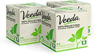 Veeda Natural All-Cotton Tampons, Regular, Compact Applicator, 3 Boxes of 16 Count Each