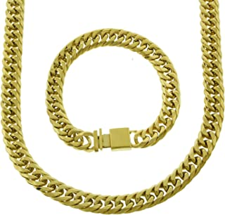 Mens Thick Tight Link Yellow Gold Finish Solid 12mm Miami Cuban Link Chain/Bracelet Box Lock 20-30 inches
