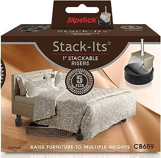 Slipstick CB659 Adjustable Bed Furniture Risers (Set of 8), Black