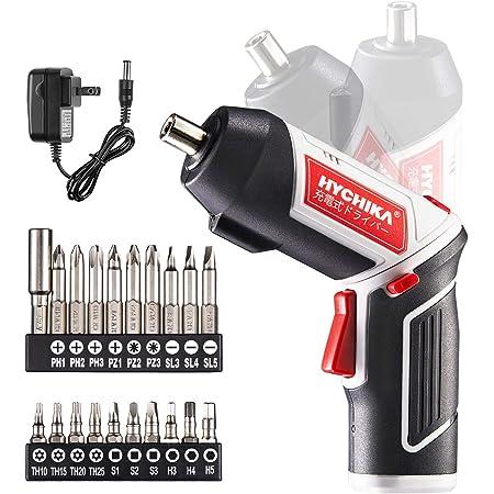 電動ドライバー HYCHIKA(ハイチカ) 充電式ドライバーセット トルク6Nm 3.6V2.0Ah大容量 正逆転切り替え LEDライト 充電器付き 20本ビット 小型軽量 家具の組み立て 日本語取扱説明書
