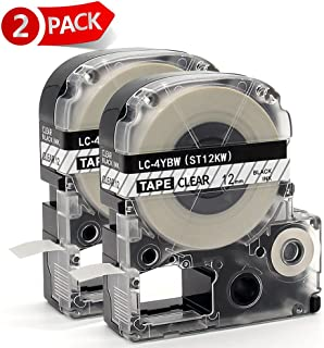 MARKLIFE Compatible for Epson LabelWorks Label Maker Tape LK-4TBN(LC-4TBN9) for LW-300, LW-400,LW-500,LW-600P and LW-700, Black on Clear, 1/2