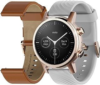 Moto rola Moto 360 3e generatie Smartwatch - roestvrij stalen behuizing met 20mm banden, de hele dag batterij en WearOs Ro...