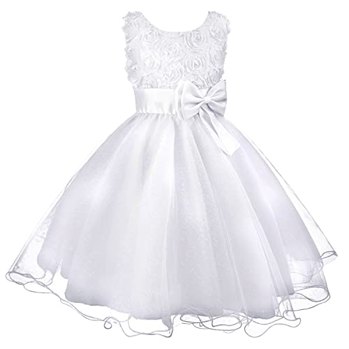 7a8e680fa03d Discoball Girls Flower Dress Formal Wedding Bridesmaid Party Christening  Dress Princess Lace Dress for Kids