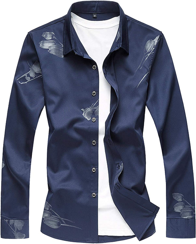 Luandge shipfree Men's Notch Lapel Printed Tren Fashion Personality Shirt Cheap mail order sales