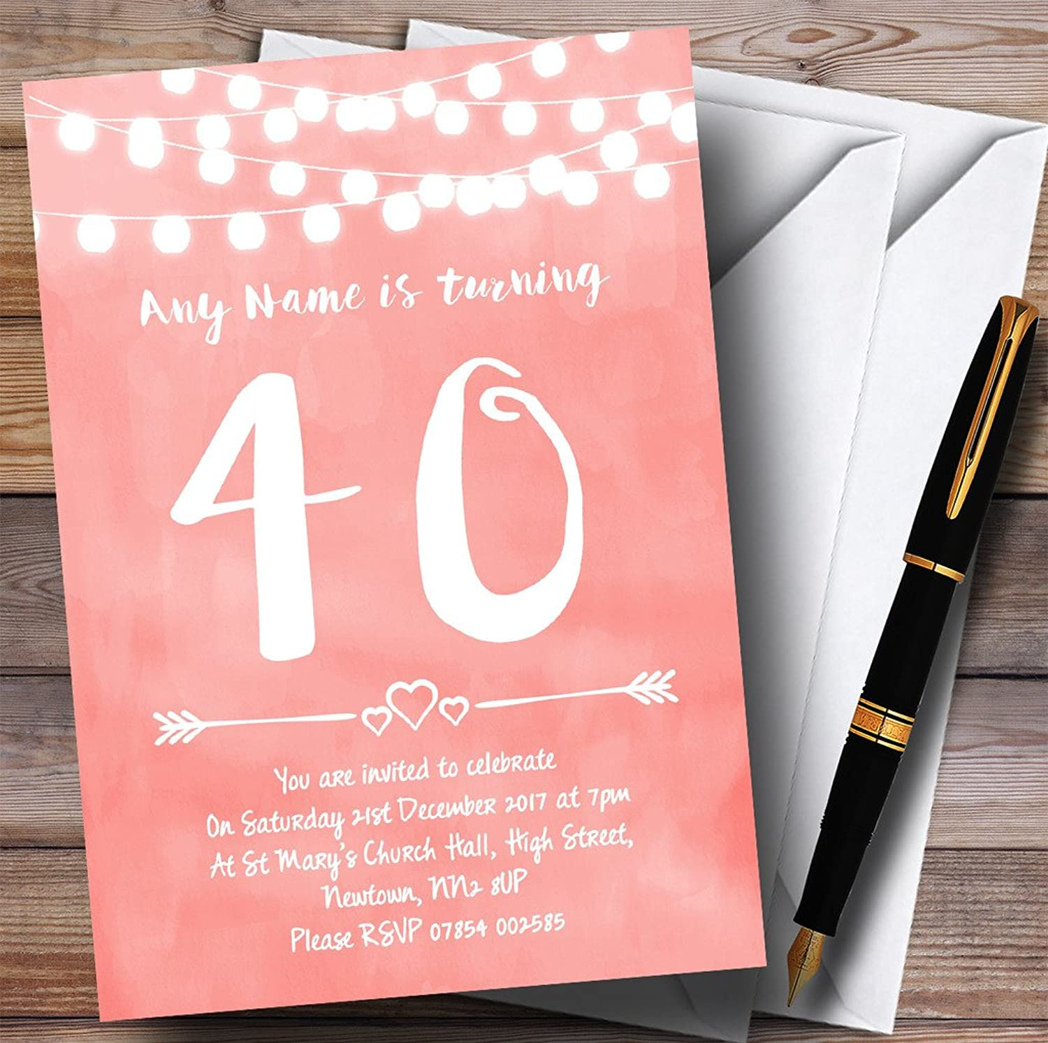 Coral Pink Lights 40th Personalised Birthday Party Invitations