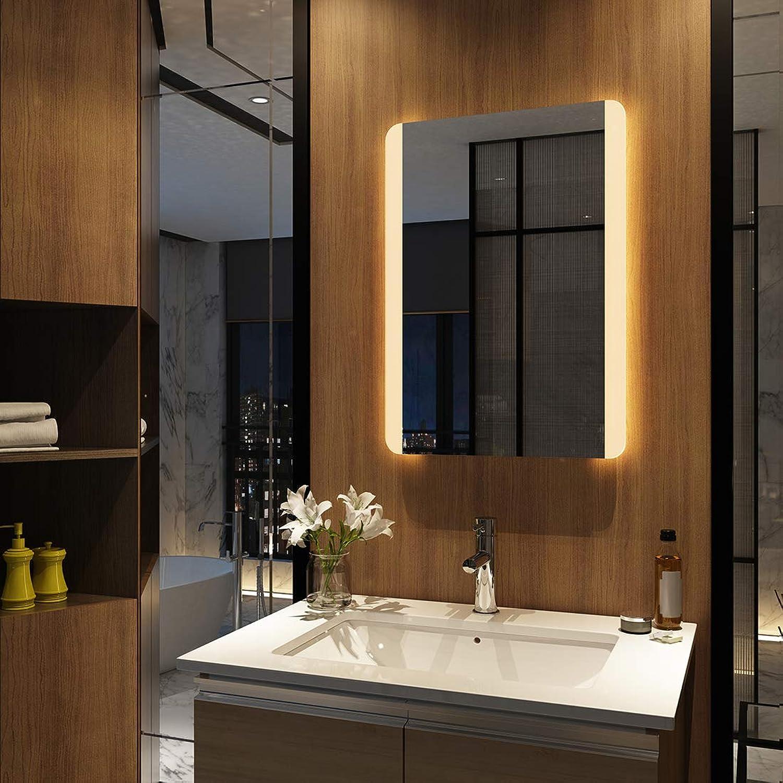 EMKE Badspiegel mit LED Beleuchtung 50 x 70 x 4,5cm, Spiegel mit Beleuchtung Warmwei, beleuchtet Badezimmerspiegel Wandspiegel Lichtspiegel (Modell 2)