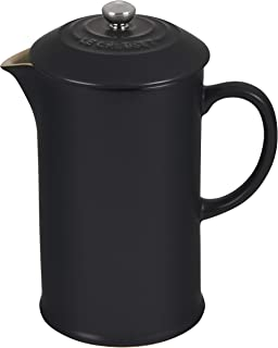 Le Creuset Stoneware Cafetière French Press with Stainless Steel Plunger, 1 Litre, Serves 3-4 Cups, Satin Black, 910282000...