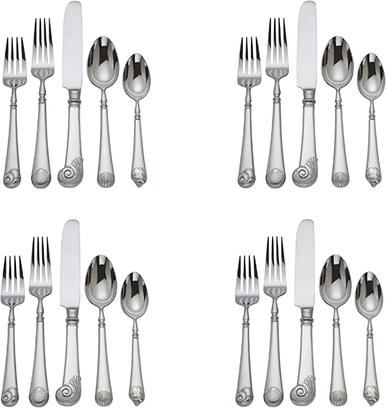 Reed Barton Colonial Williamsburg Gloucester Shell 20pc Flatware Set Service For Four
