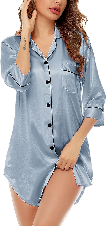 SWOMOG Women's Satin Nightgown 3/4 Sleeve Sleepwear Button Down Sleep Shirt Silk Nighty Pajama Top