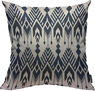 "Mugod Navy Blue Aztec Throw Pillow Cover Ikat Seamless Pattern Design for Fabric Home Decorative Square Pillow Case for Men Women Kids Bedroom Livingroom Cushion Cover 18"" x 18"""