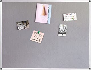 4 THOUGHT Fabric Bulletin Board 36 x 24 Inches Wall Mounted with Silver Aluminium Frame Message Memo Pin Board for Display and Organize Office or Classroom, 3 x 2 Feet, 10 Push Pins Included, Gray