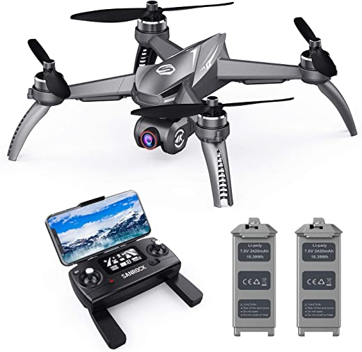 SANROCK B5W GPS Drones with 4K UHD Camera for Adults Kids Beginners, Quadcopter with Brushless Motor