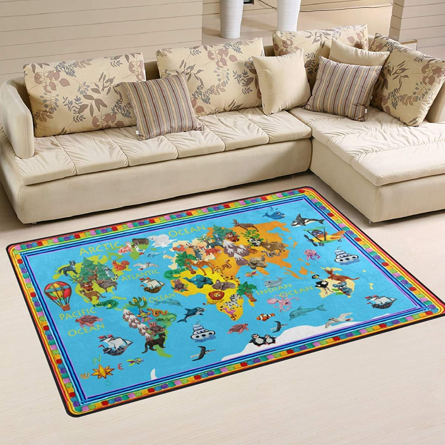 Area Rugs Doormats World Map with Animals Kids 5'x3'3 (60x39 Inches) Non-Slip Floor Mat Soft Carpet for Living Dining Bedroom Home