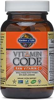 Garden of Life Vitamina Code Raw Vitamina C - 60 cápsulas I 500 mg I Probióticos I enzimas I frutas I verduras I Vegano