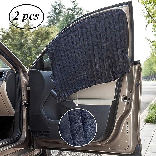 Running Unicorns 2 Pcs Auto Foldable Front Rear Side Window Sunshade Mesh