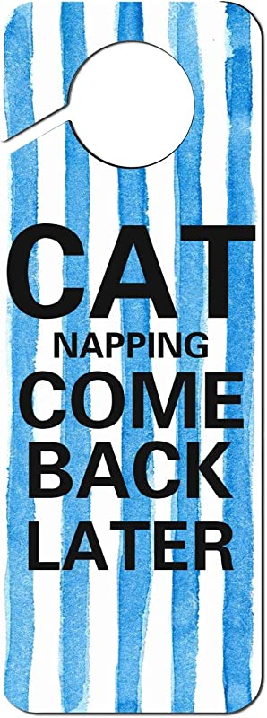 JWOJJUAW Cat Napping Come Back Later Plastic Door Knob Hanger Sign Warning Tag For Hotel Room Home Decoration