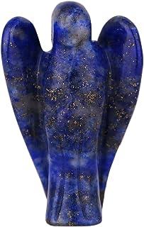 Morella piedra preciosa gema lapislázuli ángel talismán para llevar 3,5 cm en bolsa de terciopelo