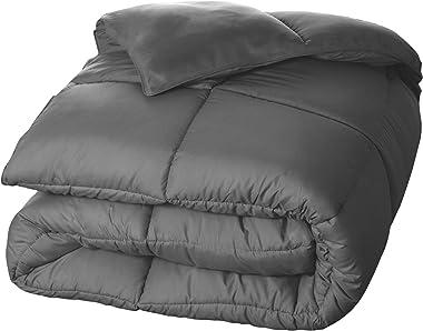 SUPERIOR Oversized All-Season Reversible Down Alternative Comforter, Full/Queen, Silver