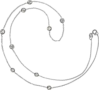 18 in, Jay Seiler Stainless Steel Cubic Zirconia Teardrop Polished Necklace Length
