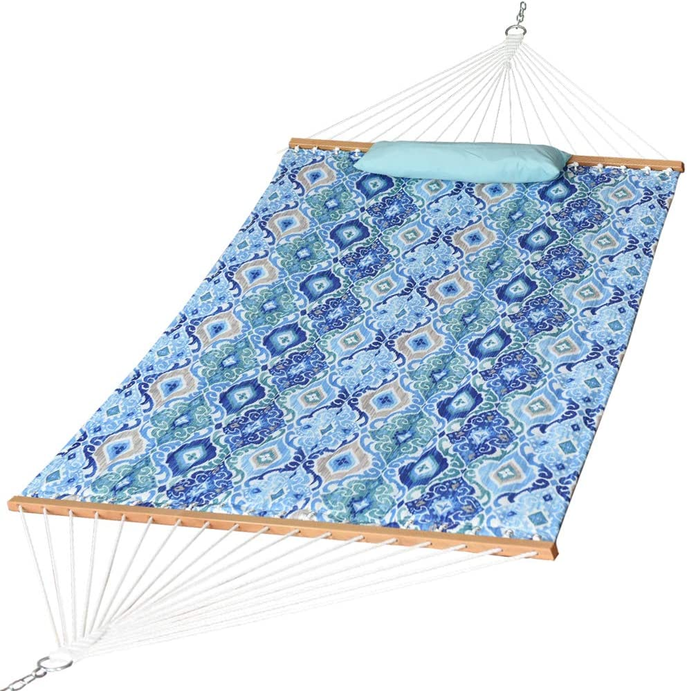 Prime Garden Outlet SALE Limited Special Price Double Quilted Fabric Pillow Hardwood Hammock with