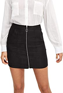 Women's Vintage Zipper Up Mini Bodycon A Line Short Skirt