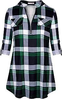 Womens Casual Long Sleeve Zipped V Neck Plaid Tunic Blouses