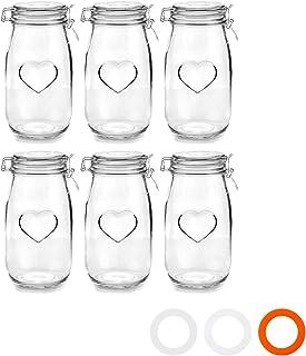 Juego de Botes de Cocina con Cierre hermético de Clip - Diseño de corazón - Cristal - 15l - Pack de 6