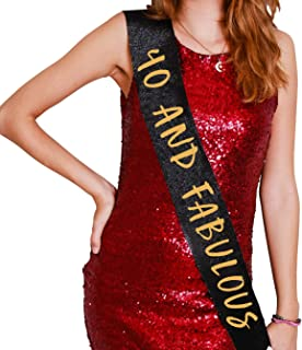 40th Birthday Decorations for Women | 40 and Fabulous Glitter Birthday Sash | Fourty Years Old Happy Birthday Party Supplies Favors and Gifts | 40th Birthday Gifts for Women (Black)