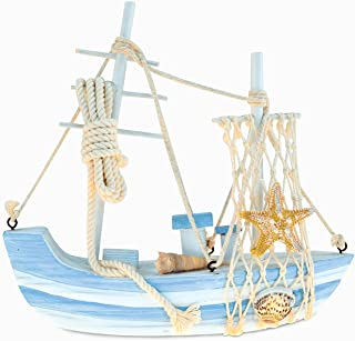 CoTa Global Nautical Intricate Art Statue Wooden Ocean Breeze Beach Boat Theme Décor Real Natural Wood Blue Mist Sailboat Handcrafted Hand-painted Wood Figurine Home Accent Accessories 7.75 Inch