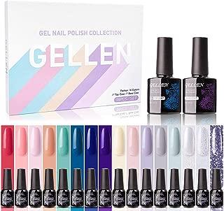 Gellen Gel Nail Polish Kit 16 Colors With Top Base Coat - Popular Vibrant Pure Shimmer Glitters Nail Gel Colors Spring Summer Collection, Soak Off UV Home Gel Manicure Set