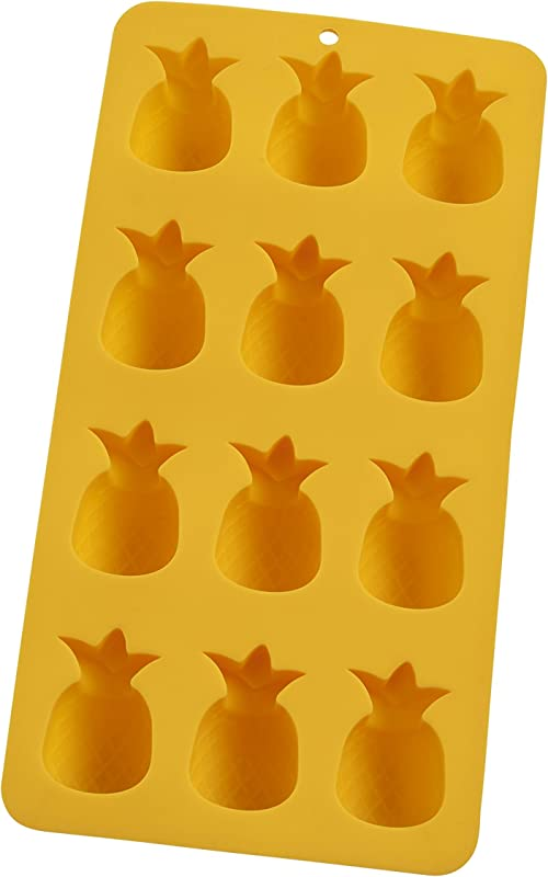 HIC Harold Import Co 43822 Pineapples Ice Cube Tray And Baking Mold Non Stick Silicone FDA Approved Makes 12 Yellow