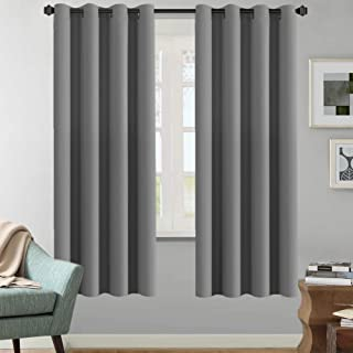 H.VERSAILTEX Solid Grey Color Thermal Insulated Blackout Curtains Metal Grommet Curtain Panels Room Darkening Window Drapes for Bedroom/Living Room 52 x 72 Inch Set of 2