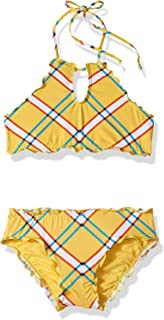 Girls' Big High Neck Bikini Top and Hipster Bottom Swimsuit Set